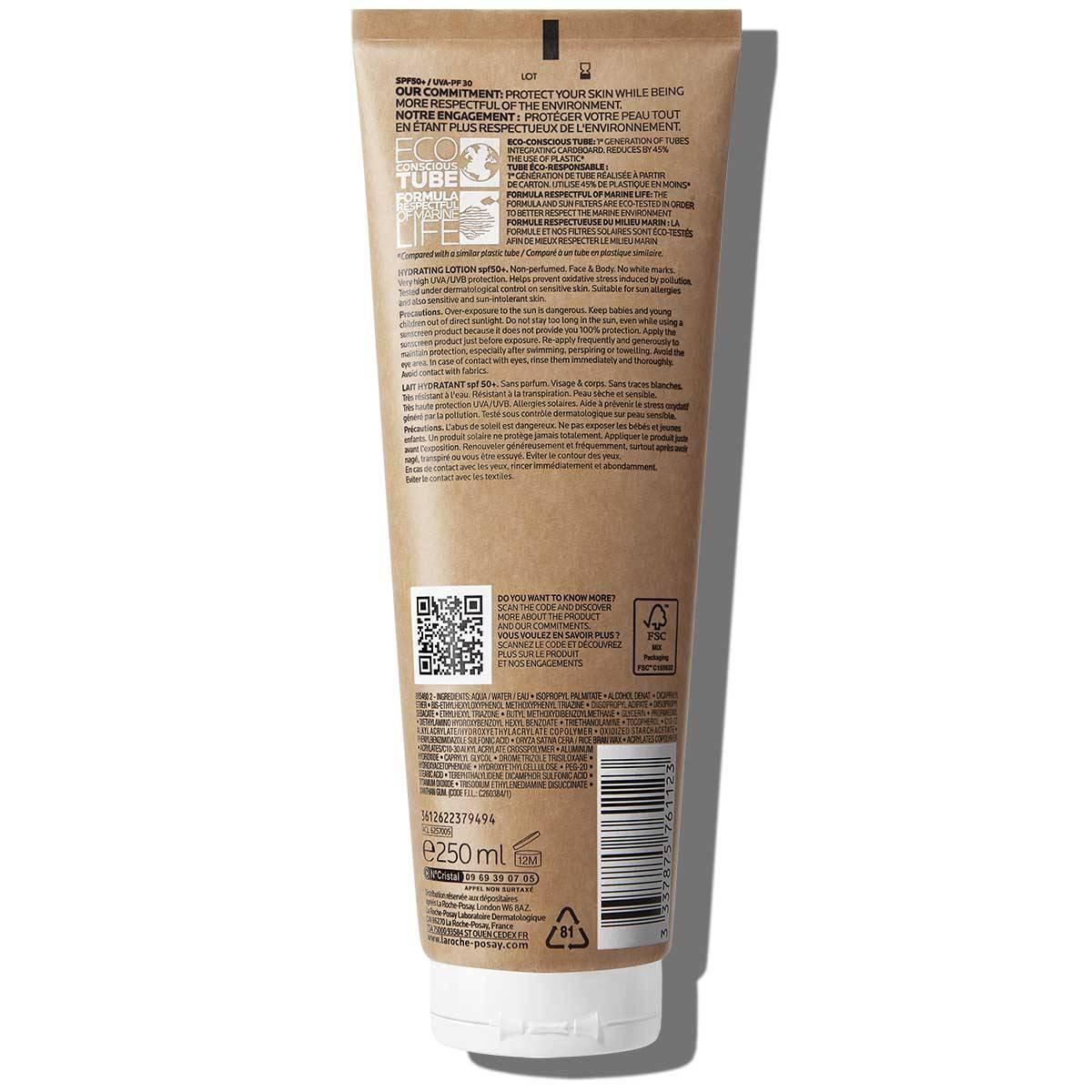 anthelios loção hidratante spf 50 embalagem ecológica rótulo