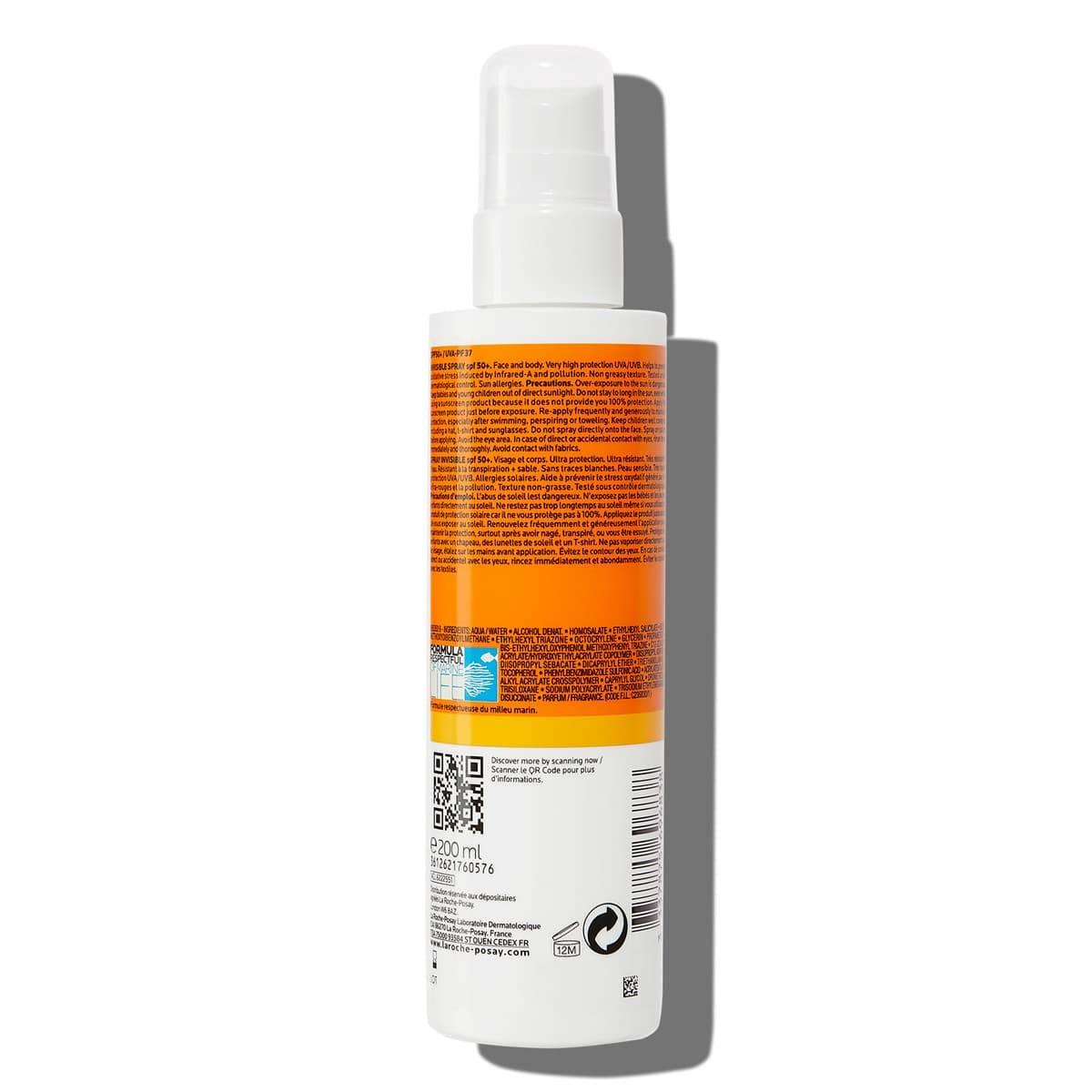 rótulo do produto anthelios protetor solar em spray invisível fps50+