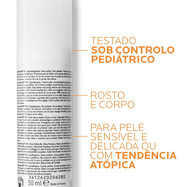 rótulo do protetor solar para bebés e crianças com pele atópica anthelios dermo pediatrics
