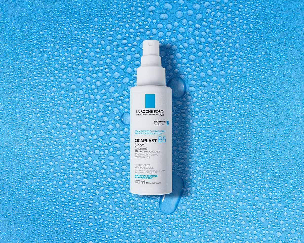 Cicaplast Spray B5, spray reparador para adultos e crianças que ajuda a reparar e acalmar a pele fragilizada ou com desconfortos cutâneos.