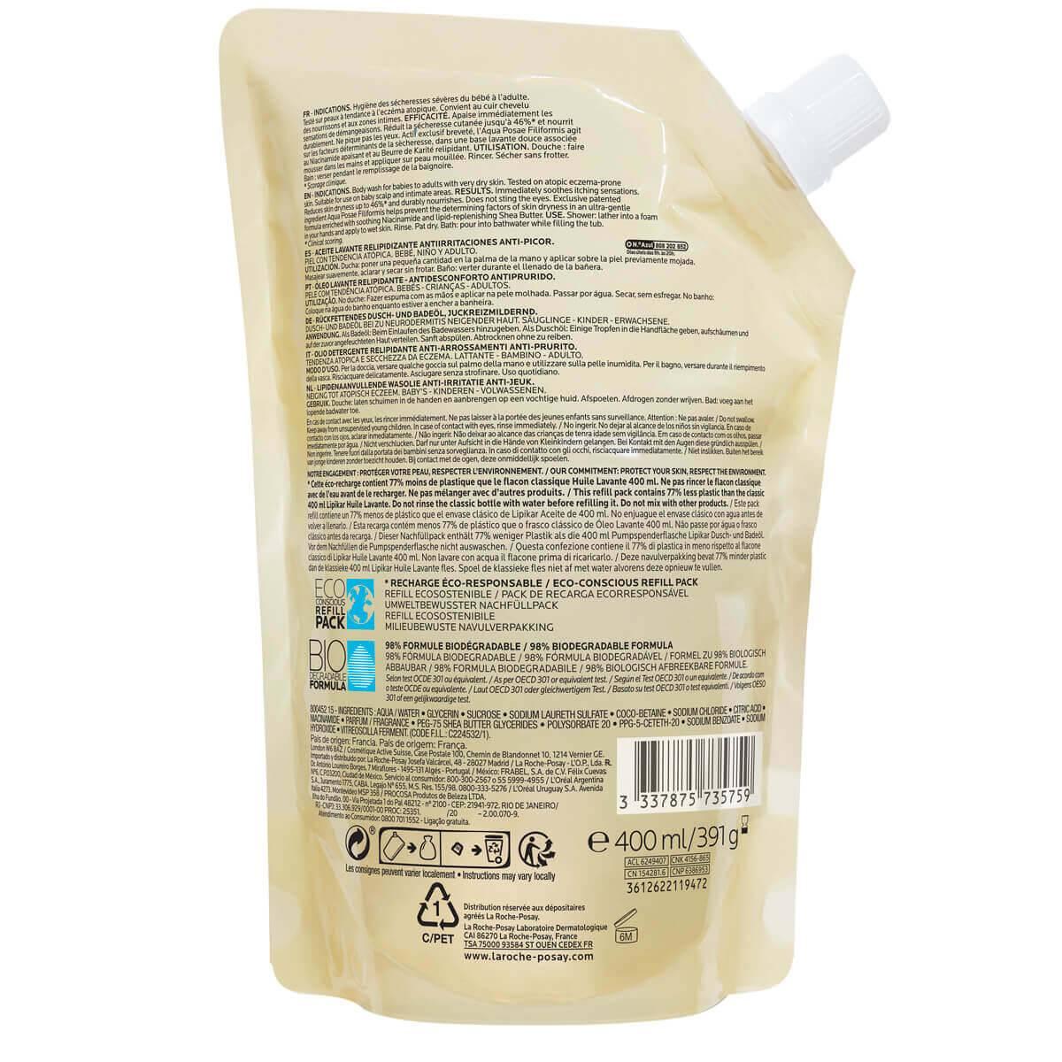rótulo óleo lavante lipikar syndet ap+ eczema e pele atópica